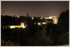 The Alhambra, viewed from Generalife, at night.