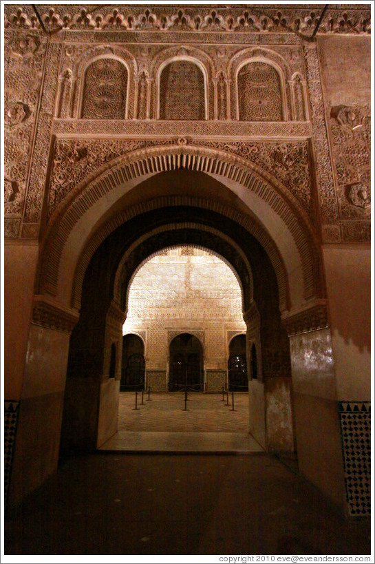 Arch leading to Comares Hall, Nasrid Palace, Alhambra at night.
