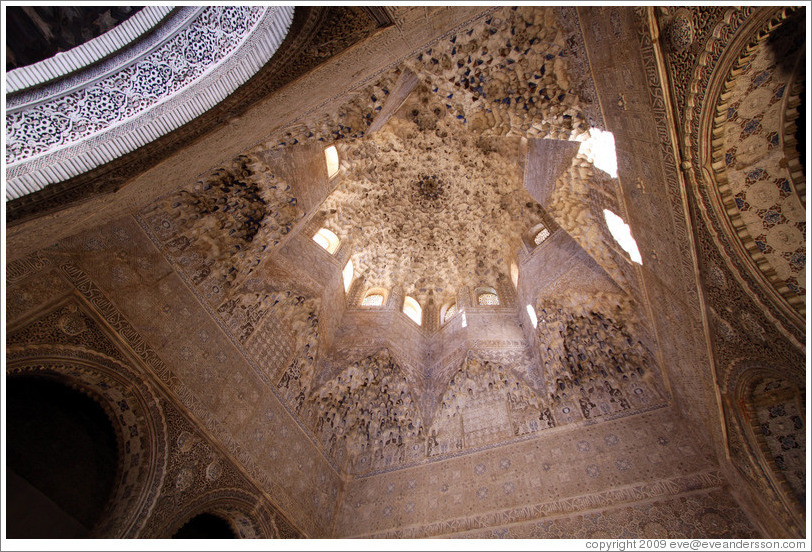 Star-shaped ceiling with a honeycomb pattern. Hall of the Abencerrajes, Nasrid Palace, Alhambra.