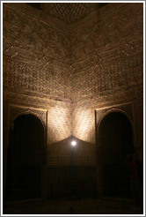 Corner of Comares Hall, Nasrid Palace, Alhambra at night.