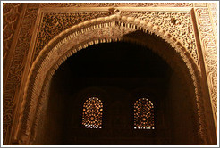 Windows in Comares Hall, Nasrid Palace, Alhambra at night.