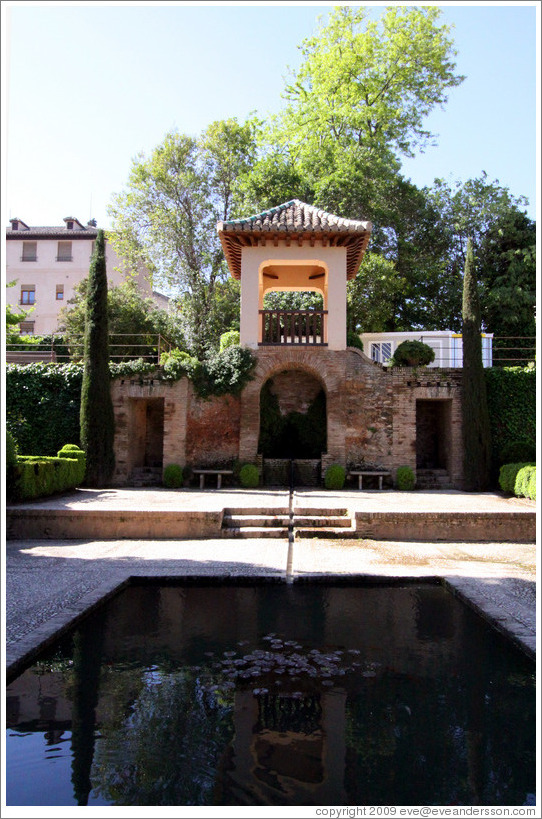 Reflection pool in garden outside Nasrid Palace, Alhambra.