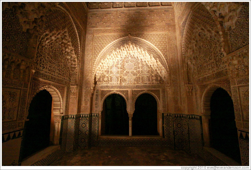 Mirador de Lindaraja, Nasrid Palace, Alhambra at night.