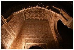 Arch, Patio de los Leones, Nasrid Palace, Alhambra at night.