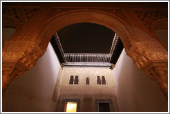Patio del Cuarto Dorado, Nasrid Palace, Alhambra at night.