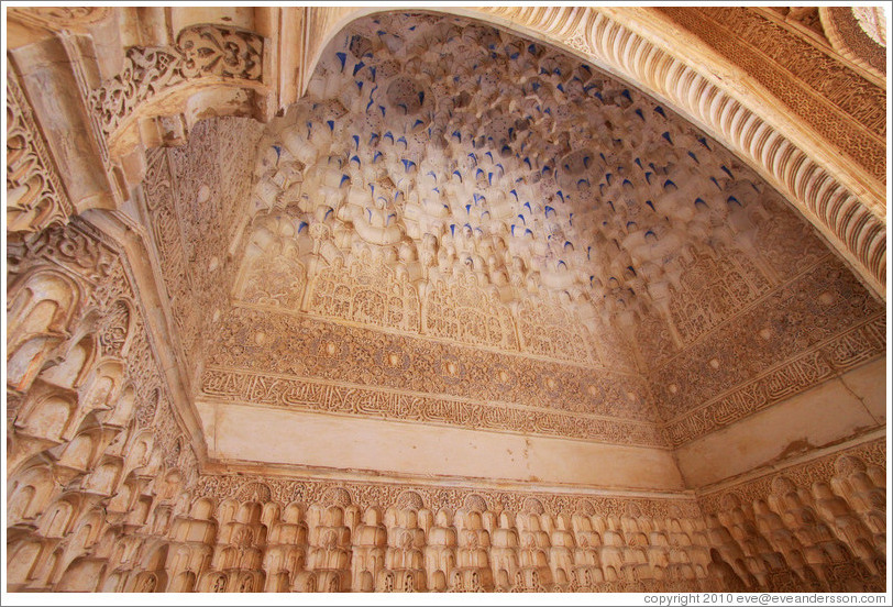 Muqarnas on the ceiling, Sala de la Barca, Nasrid Palace, Alhambra.