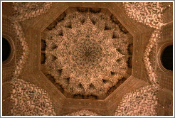 Hexagonal dome, Sala de las Dos Hermanas, Nasrid Palace, Alhambra at night.