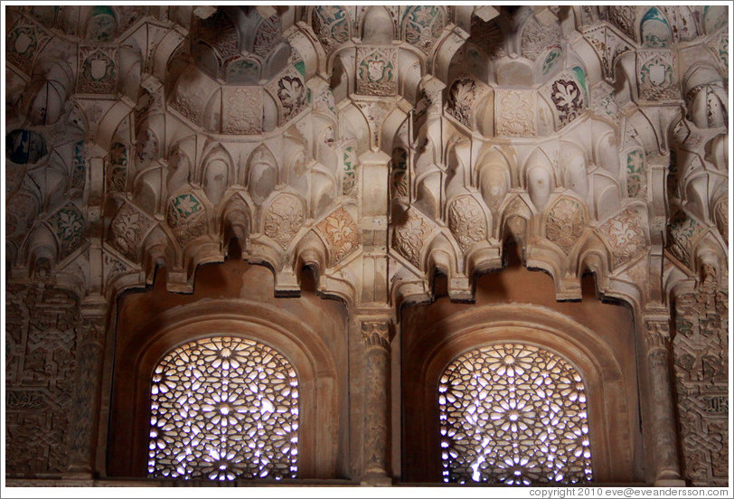 Muqarnas above the windows, Hexagonal dome, Sala de las Dos Hermanas ...