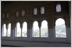Windows with grand view of landscape.  Nasrid Palace, Alhambra.