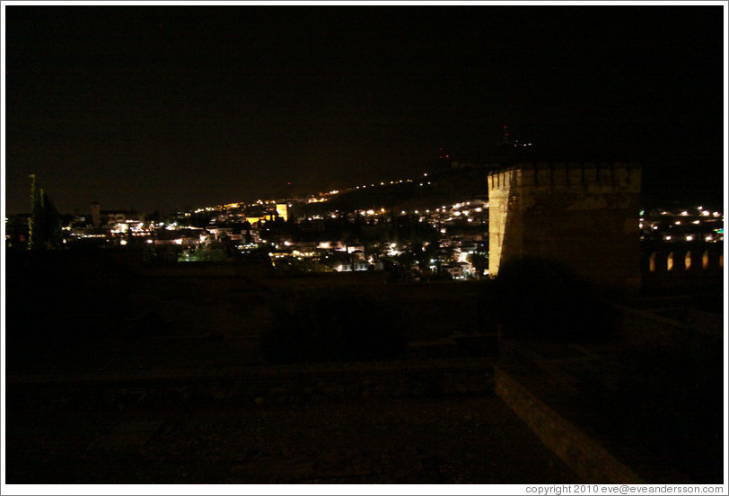 View from the Alhambra to the city of Granada at night.