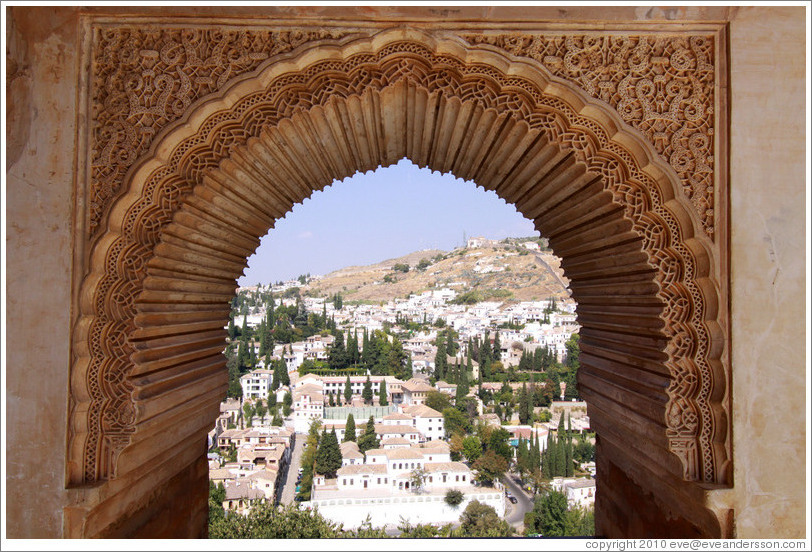 View of Granada from Palacio del Partal, Alhambra.