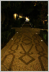 Path, Parador de San Francisco, Alhambra at night.