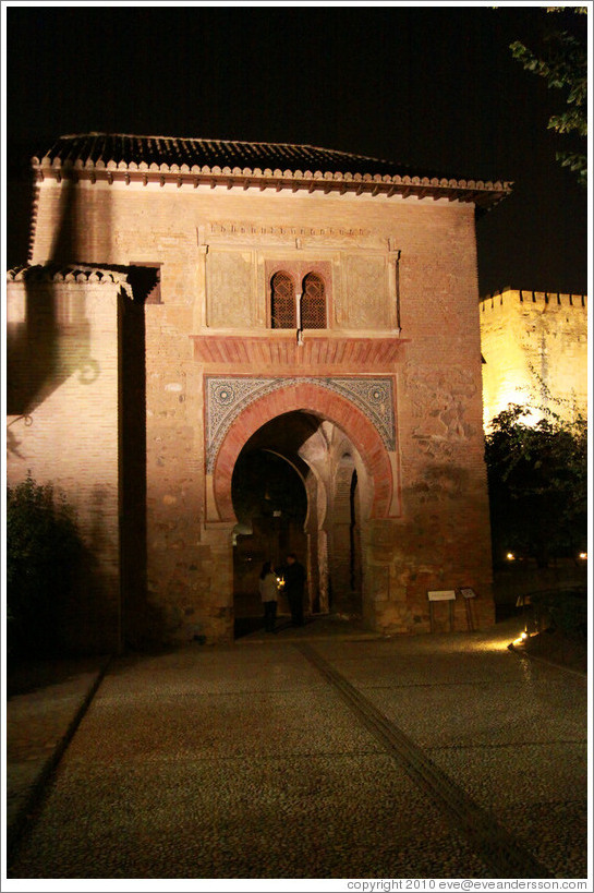 La Puerta del Vino (The Wine Gate),  Alhambra at night.