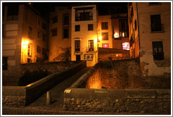 Puente de Cabrera, over the Darro River, at night.  City center.