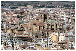 Granada Cathedral, in a sea of other buildings in the city center, viewed from the Alhambra.