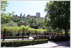 Paseo de los Tristes (Promenade of the Sad), with the Alhambra in the background.  City center.