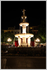 Fountain at night.  Plaza de Bib-Rambla.  City center.