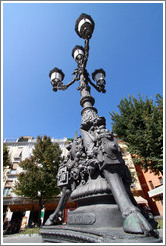 Lamppost detail: horse's hoof. Plaza de Bib-Rambla, city center.