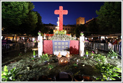 Cross for Fiesta de las Cruces, in Plaza de Bib-Rambla, at night.  City center.