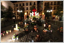 Cross for Fiesta de las Cruces, in Plaza del Carmen, at night.  City center.
