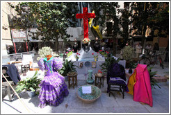 Cross for Fiesta de las Cruces near the Granada Cathedral.  City center.