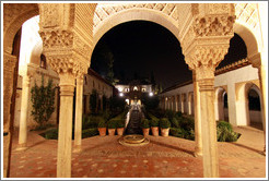 Patio de la Acequia (Court of the Water Channel) at night, Palacio de Generalife.