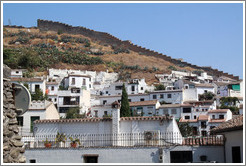 Sacromonte and a muralla, an 8th century wall that protected the city, viewed from Carril de San Agust? Albaic?