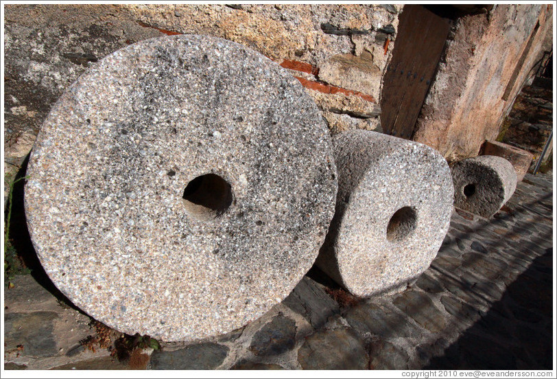 Stone wheels. 15th century Moorish olive oil mill, used by the town of Nig?elas until 1920.