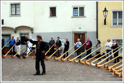 Alphorn players, Arcas, Old Town, Chur.