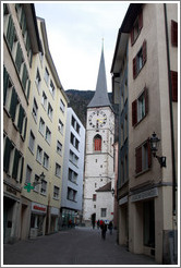 Obere Gasse, looking towards Martinskirche, Old Town, Chur.
