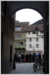 Paradiesgasse, looking through arch toward Arcas, Old Town, Chur.