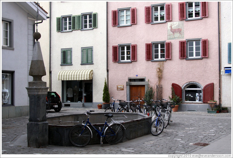 Fountain with bicycles, Vazerolgasse, Old Town, Chur.