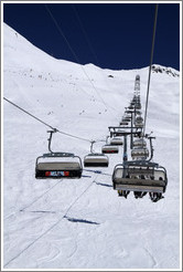 Clavadeler Bubble Chairlift, Jakobshorn, a skiing region of the Davos Klosters Mountains.