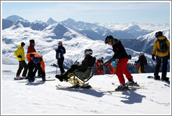 Sitting skis, Jakobshorn, a skiing region of the Davos Klosters Mountains.