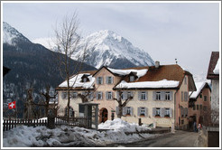Hotel Meisser, with mountains behind.