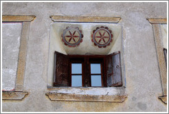 Window, with Romansh designs.