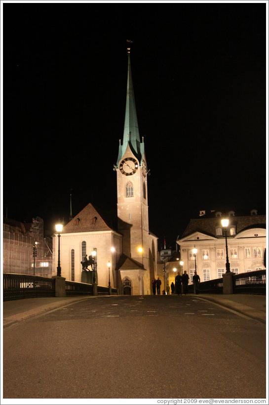 Fraum?nster (Minster of Our Lady church) at night.  Built in the 13th century.  Altstadt (Old Town).