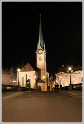 Fraum�nster (Minster of Our Lady church) at night.  Built in the 13th century.  Altstadt (Old Town).