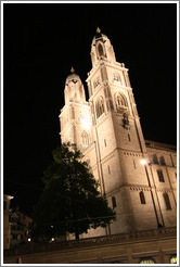 Grossm?nster (Great Church) at night.  Built in the 12th century.  Altstadt (Old Town).