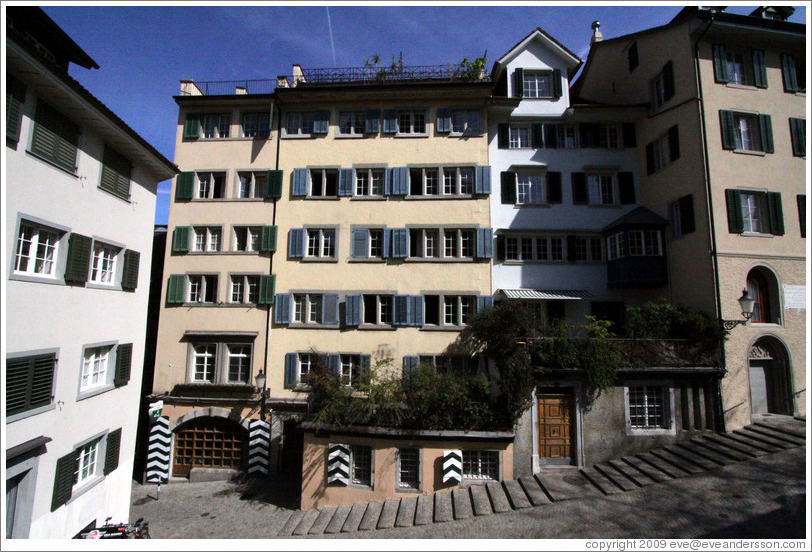 Houses on a hill with steps on Grossm?nsterplatz.  Altstadt (Old Town).