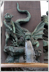 Dragon-dog figure on fountain outside Z?rich Hauptbahnhof (Main Station). Altstadt (Old Town).