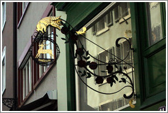Shop sign with reindeer.  Altstadt (Old Town).