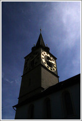 Clock tower on Kirche St. Peter (St. Peter's Church).  Altstadt (Old Town).