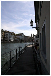 Heiri-Steg walkway along the Limmat river.  Altstadt (Old Town).
