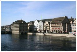 Limmatquai, with Rathaus (Town Hall) on the left.  Altstadt (Old Town).