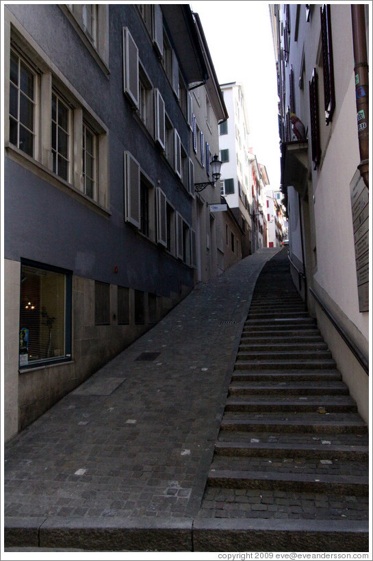 Narrow street with staircase off of Oberdorfstrasse.  Altstadt (Old Town).
