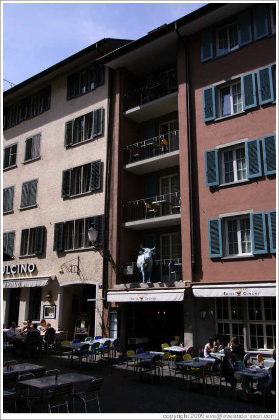 Swiss Chuci restaurant, with tables and cow on balconies.  Altstadt (Old Town).