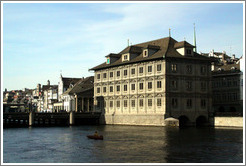 Rathaus (Town Hall), on the Limmat river.  Altstadt (Old Town).