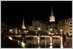 Altstadt (Old Town) at night.  Rathausbr�cke (Town Hall Bridge) and the towers of Kirche St. Peter (St. Peter's Church) and Fraum�nster (Minster of Our Lady church) are visible.