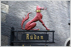 Dragon-dog with spiky collar. R�den Restaurant. Altstadt (Old Town).